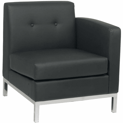 Ave Six Wall Street Arm Chair RAF Black Faux Leather [WST51RF-B18]