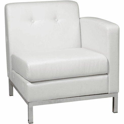Ave Six Wall Street Arm Chair RAF White Faux Leather [WST51RF-W32]