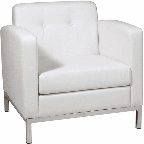 Ave Six Wall Street Arm Chair White Faux Leather [WST51A-W32]