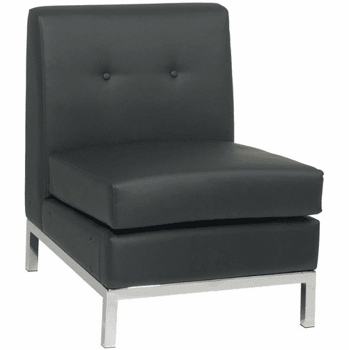 Ave Six Wall Street Armless Chair Black Faux Leather [WST51N-B18]
