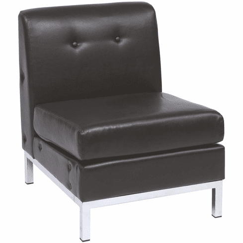 Ave Six Wall Street Armless Chair Espresso Faux Leather [WST51N-E34]