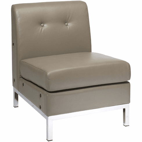 Ave Six Wall Street Armless Chair Smoke Faux Leather [WST51N-U22]