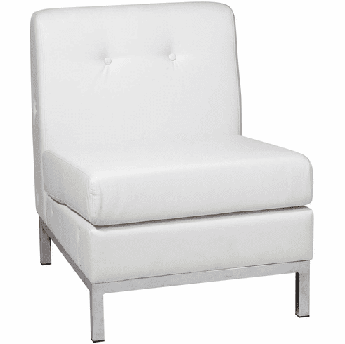 Ave Six Wall Street Armless Chair White Faux Leather [WST51N-W32]