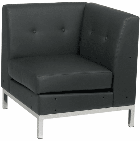 Ave Six Wall Street Corner Chair Black Faux Leather[WST51C-B18]