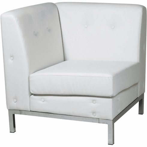 Ave Six Wall Street Corner Chair White Faux Leather [WST51C-W32]