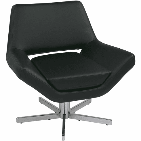 "Ave Six Yield 31"" Modern Black Faux Leather Lounge Chair [YLD5130-B18]"