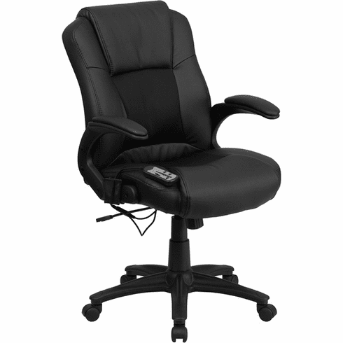 Black Leather Mid Back Massaging Office Chair [BT-2536P-1-GG]