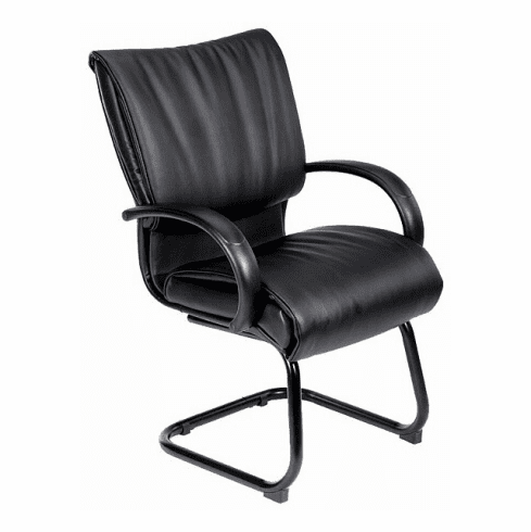 Boss Black Leather Visitor Chair [B9709]