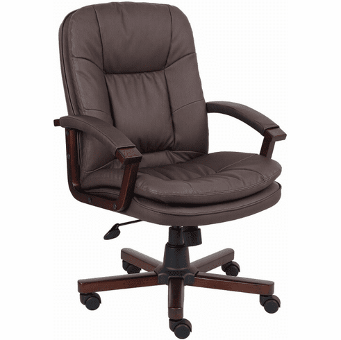 Boss Mid Back Brown Leather Executive Chair [B796]