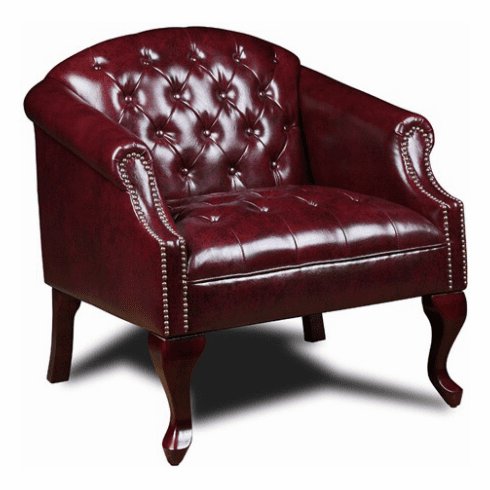 Boss Oxblood Vinyl Button Tufted Traditional Chair [BR99801]