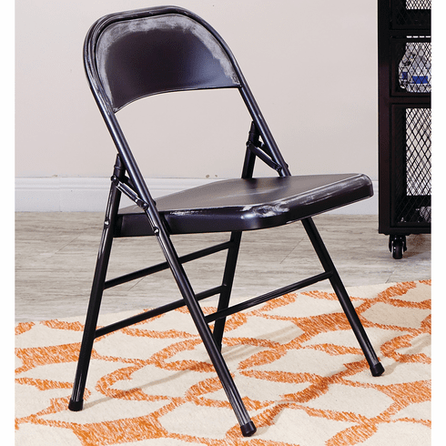 Bristow Metal Folding Chairs, Antique Black Distressed Set of 4 [BRW831A4-AB]