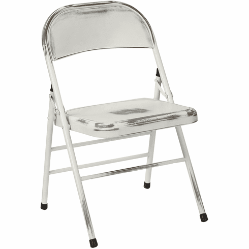 Bristow Metal Folding Chairs, Antique White Distressed Set of 4 [BRW831A4-AW]