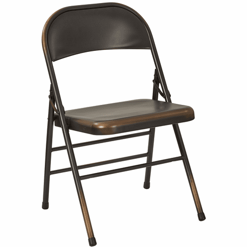 Bristow Metal Folding Chairs, Antique Copper Distressed Set of 4 [BRW831A4-AC]
