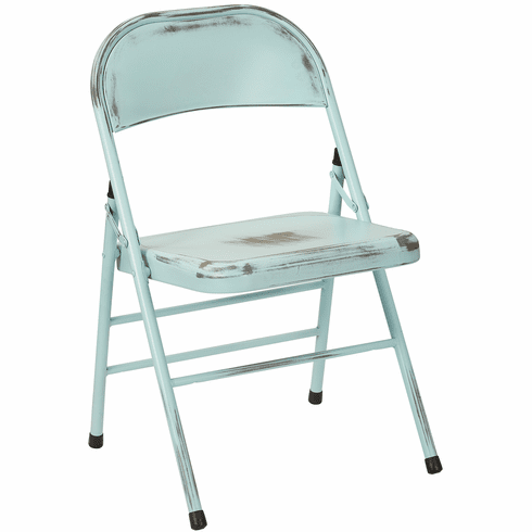 Bristow Metal Folding Chairs, Antique Sky Blue Distressed Set of 4 [BRW831A4-ASB]