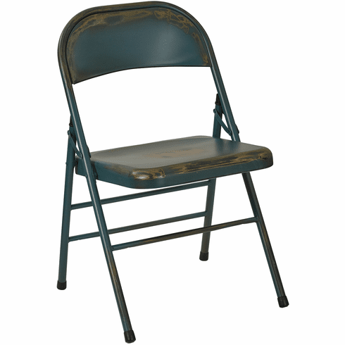 Bristow Metal Folding Chairs, Antique Tourquoise Distressed Set of 4 [BRW831A4-ATQ]