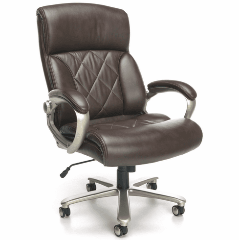 Brown Leather Executive Chair with 400 LB Capacity by OFM [812-LX]