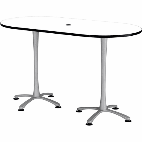 "Cha-Cha™ Conference Table Racetrack 72 x 36"" White & Metallic Gray [2550DWSL]"