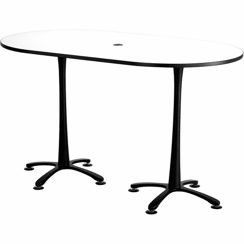 "Cha-Cha™ Conference Table Racetrack 72 x 42"" White & Black [2552DWBL]"