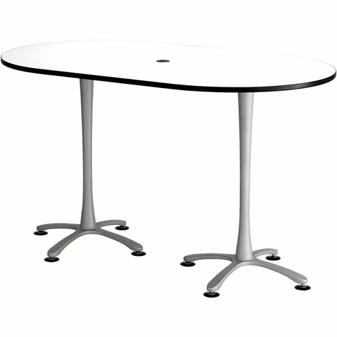 "Cha-Cha™ Conference Table Racetrack 72 x 42"" White & Metallic [2552DWSL]"