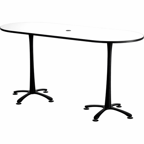 "Cha-Cha™ Conference Table Racetrack 84 x 36"" White & Black [2551DWBL]"