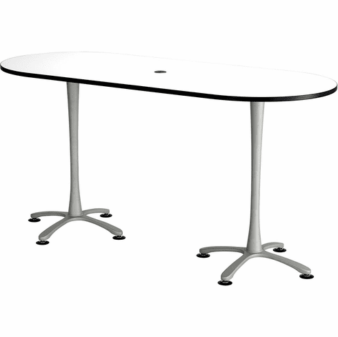 "Cha-Cha™ Conference Table Racetrack 84 x 36"" White & Metallic Gray [2551DWSL]"