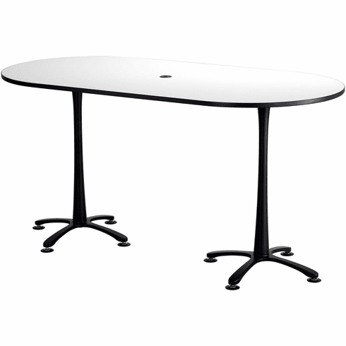 "Cha-Cha™ Conference Table Racetrack 84 x 42"" White & Black [2553DWBL]"