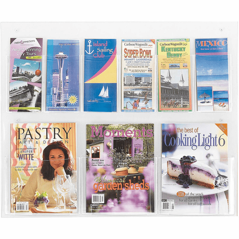 Clear2c™ Literature Organizer Display 3 Magazine and 6 Pamphlet [5666CL]