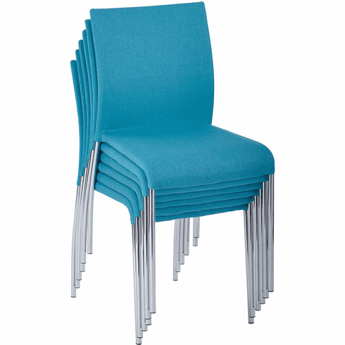 Conway Stacking Chair in Aqua Fabric, Fully Assembled, 6-Pack [CWYAS6-CK007]