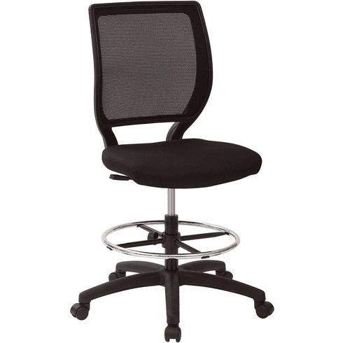 Deluxe Woven Mesh Back Armless Drafting Chair, Icon Black Seat [DC51000N-231]