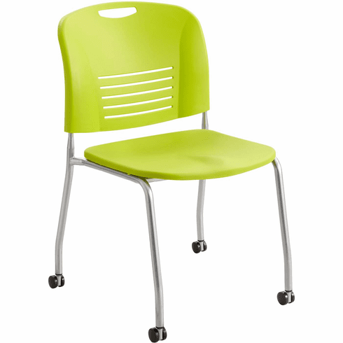 ***Discontinued*** Vy™ Stack Chair Straight Leg with Casters Wheels Grass Green Set of 2 [4291GS]