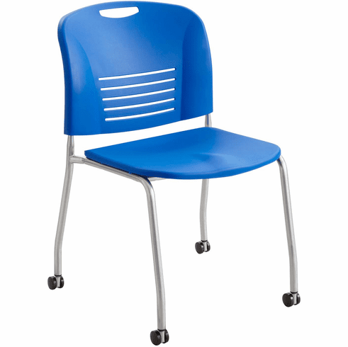 ***Discontinued*** Vy™ Stack Chair Straight Leg with Casters Wheels Lapis Set of 2 [4291LA]