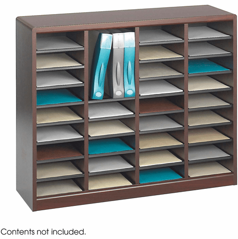 E-Z Stor® Wood Literature Organizer 36 Compartments Mahogany [9321MH]