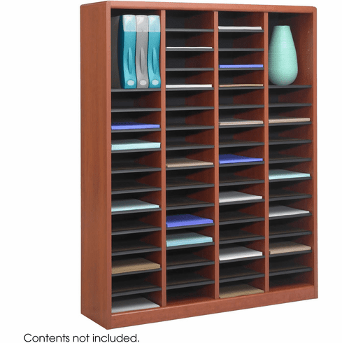 E-Z Stor® Wood Literature Organizer 60 Compartments Cherry [9331CY]