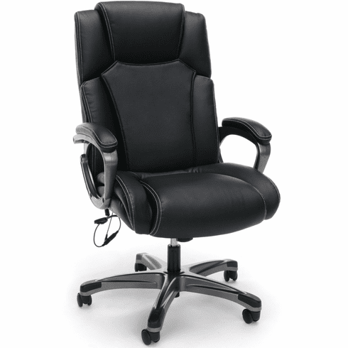 Essentials by OFM Heated Shiatsu Leather Office Chair, Black [ESS-6035M]