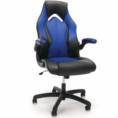 Essentials By Ofm Racing Style Blue Mesh Leather Gaming