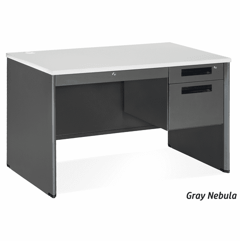 Executive Single Pedestal Panel End Desk with Center Drawer [77348]