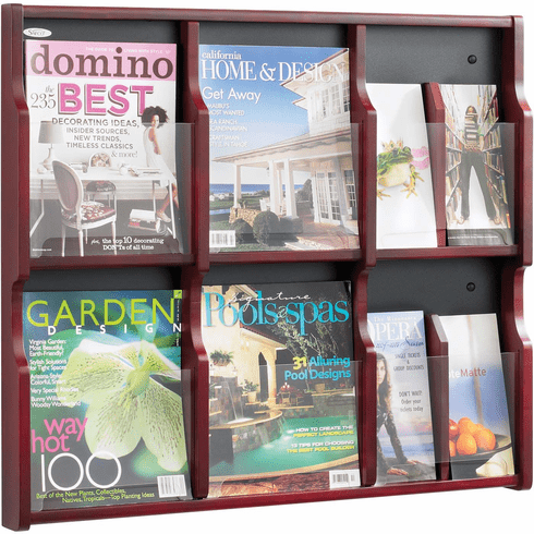 Expose™ Literature Organizer Display 6 Magazine 12 Pamphlet Mahogany [5703MH]
