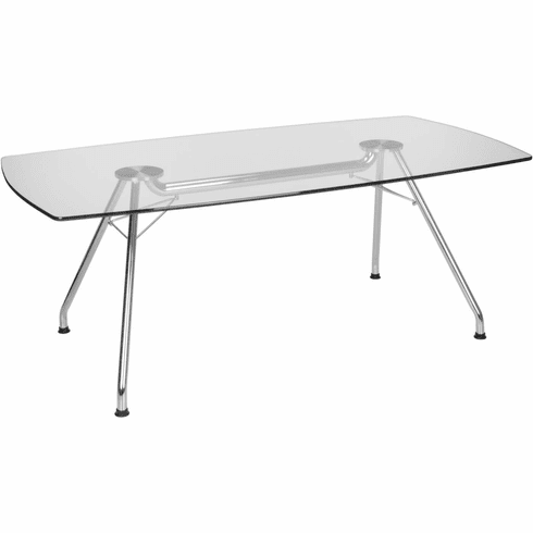 Glass Conference Table 39X77 Steel Base [GT3977]