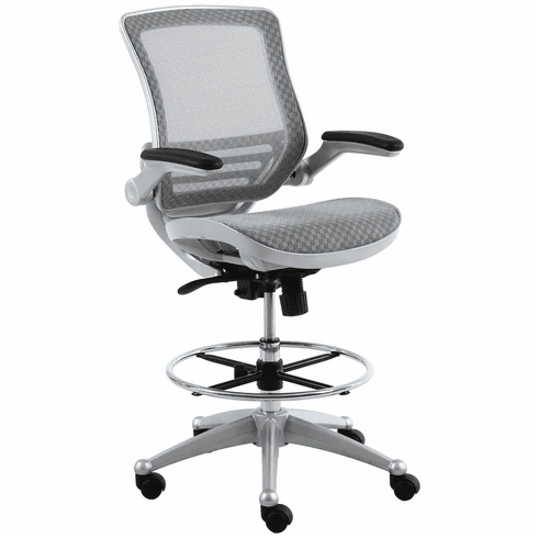 Harwick Evolve All Mesh Heavy Duty Drafting Chair - Platinum Finish [2250D-GY]