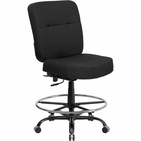Hercules Black Fabric Heavy Duty Drafting Stool [WL-735SYG-BK-D-GG]
