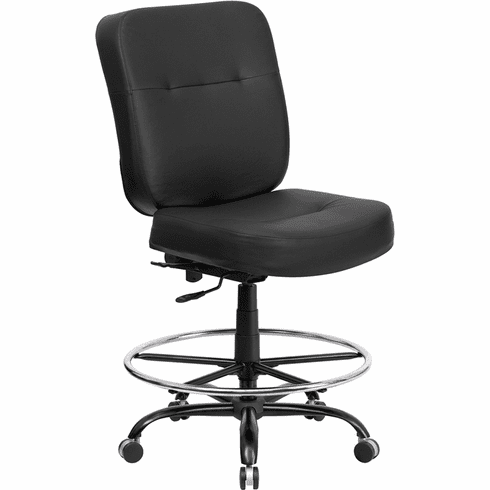 Hercules Leather Big and Tall Drafting Chair [WL-735SYG-BK-LEA-D-GG]