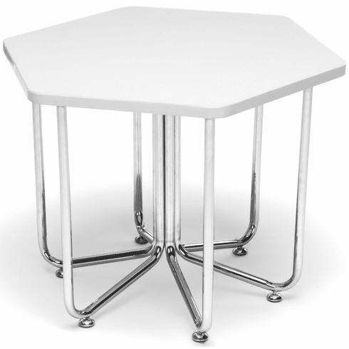 Hex Table [White Top with Chrome Frame [66T-WHT]