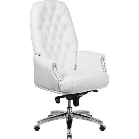 Awesome High Back Tufted White Leather Executive Swivel Office Chair With Arms Bt 90269H Wh Gg Ocoug Best Dining Table And Chair Ideas Images Ocougorg