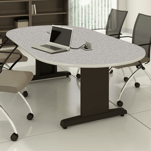 "Mayline 72""x36"" Racetrack Conference Table Gray Nebula [R73V5CGBLK]"