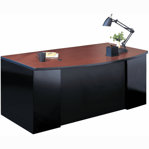 "Mayline 72""x39"" Bowfront Desk BBF Pedestal Black, Crown Cherry [C1971CCHBLK]"