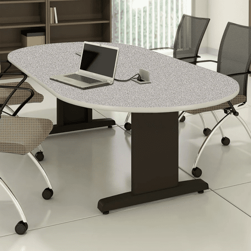 "Mayline 84""x42"" Racetrack Conference Table Gray Nebula [R84V5CGBLK]"