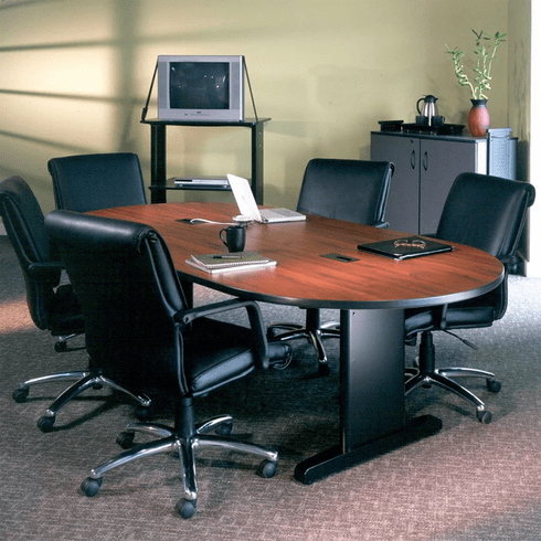 "Mayline 84""x42"" Racetrack Conference Table Windsor Mahogany [R84V5DXBLK]"