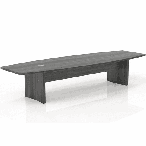 Mayline Aberdeen 12' Conference Table, Boat Shape, Gray Steel [ACTB12LGS]