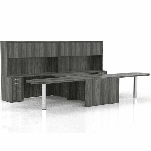 Mayline Aberdeen Office Desk Set Gray Steel [AT21LGS]