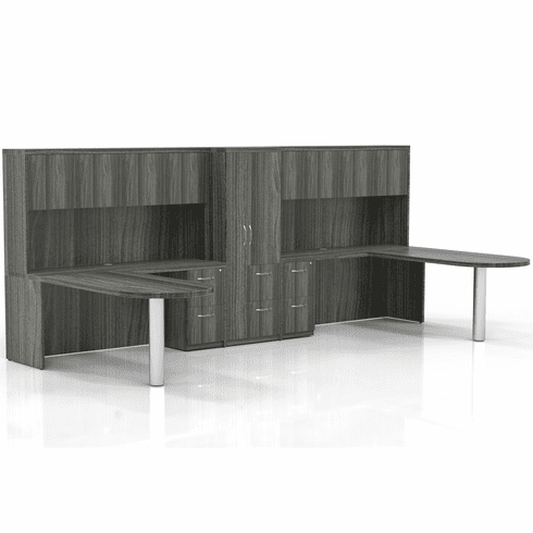 Mayline Aberdeen Office Desk Set Gray Steel [AT23LGS]